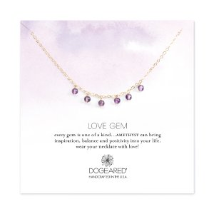 Love Gems Dangling Amethyst Necklace, Gold Dipped| Dogeared