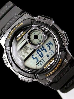 史低!$12.19 人生第一块表Casio AE-1000W-1AVDF 男士世界时腕表