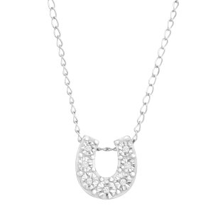 Mini Horseshoe Pendant with Diamonds