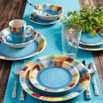 Gibson Carmelita Stripes 16-Piece Dinnerware Set