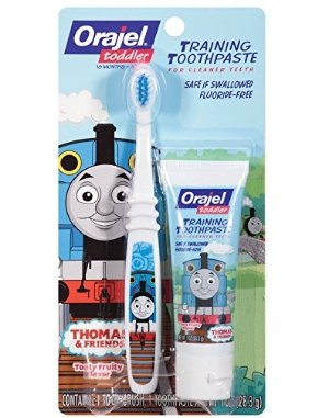 $3.67 Orajel Thomas and Friends Fluoride-Free Training Toothpaste with Toothbrush, Tooty Fruity, 1.0 Oz