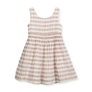 Burberry Mariela Sleeveless Striped Open-Back Dress, Light Copper Pink, Size 4-14