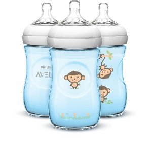 Avent BPA Free 3 Pack 9 Ounce Decorated Natural Bottle - Blue Monkeys - Avent - Babies