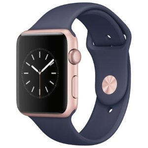 Apple® Watch Series 1 42mm Rose Gold Aluminum Case with Midnight Blue Sport Band : Target