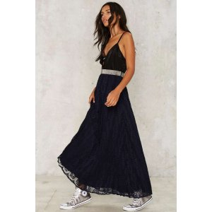 Ground Floor Pleated Maxi Skirt