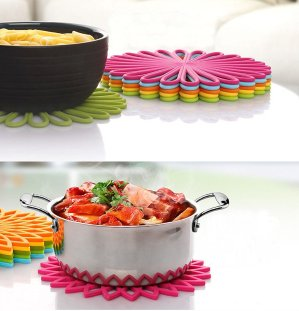 ME.FAN Silicone Multi-Use Flower Trivet Mat(set of 3 Pack)