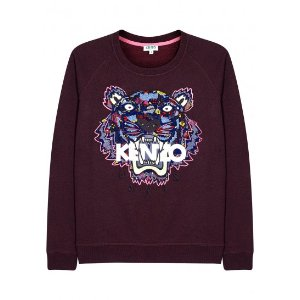 Tiger-embroidered cotton sweatshirt