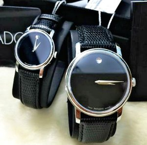 $159.99 Each MOVADO Museum Black Dial Black Leather Strap Men's and Women's Watch