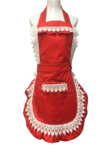 Lovely Lace Work Aprons Home Shop Kitchen Cooking Tools Gifts for Women Aprons, Red