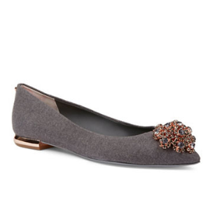 TED BAKER LONDON Liana Broach Embellished Wool Dress Flats
