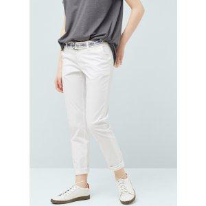Belt cotton-blend pants - Women | MANGO USA