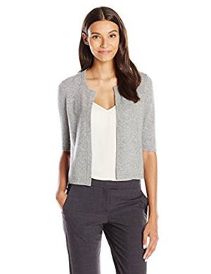 Lark & Ro Women's 100% Cashmere Cropped Cardigan Sweater