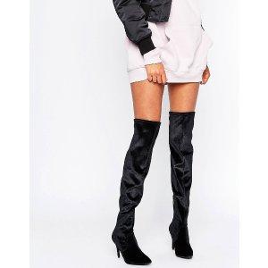 New Look Velvet Thigh High Heeled Boots
