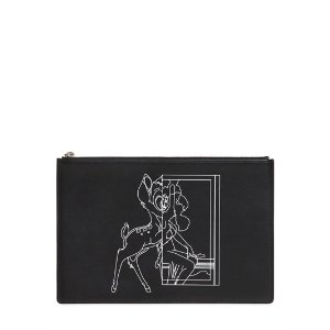 GIVENCHY - MEDIUM BAMBI PRINTED LEATHER POUCH - CLUTCHES - BLACK - LUISAVIAROMA