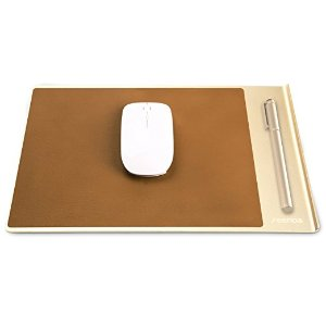 Seenda Highly Stylish Aluminium Mouse Pad with Fast and Accurate Control for Gaming and Working, Non-Slip Rubber Base and Brown PU Leather Surface, Complement each other with MacBook