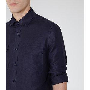 Whiplash Navy Twill Overshirt - REISS