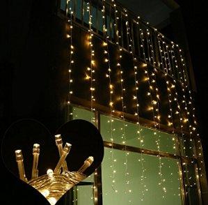 节日欢乐灯饰!$11.03(原价$35.99)LEORX 3M x 3M 300 盏 LED 灯帘
