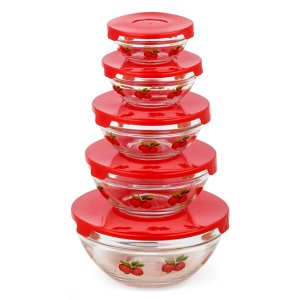 Diamond Home Red Apple Five-Piece Glass Storage Bowl Set | zulily