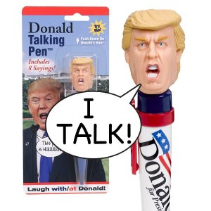 Donald Talking Pen - 8 Different Sayings - Trump's REAL VOICE - Just Click and Listen - Funny Gifts for Trump & Hillary Fans - Superior Audio Quality -Replaceable Batteries Included - Trum