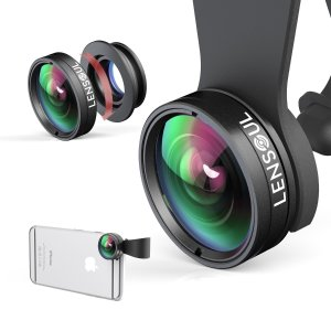 LENSOUL Fisheye, Wide Angle, Macro Lens, 3 in 1 Clip on Cell Phone Camera Lens Lens Kit