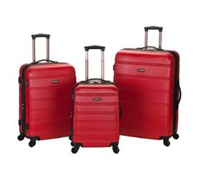 Rockland Luggage Melbourne 3 Piece Abs Luggage Set, Red, Medium