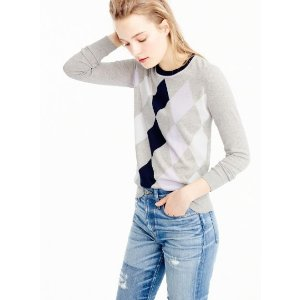 Argyle sweater in summerweight cotton