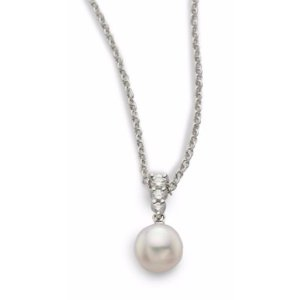 Mikimoto Morning Dew 8MM Cultured Akoya Pearl & Diamond Pendant Necklace