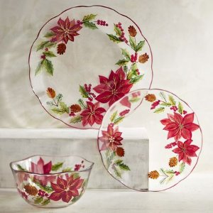 Poinsettia Painted Glass Dinnerware | Pier 1 Imports