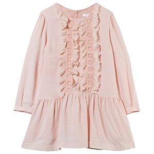 Chloé Pale Pink Wool Dress with Silk Ruffles | AlexandAlexa
