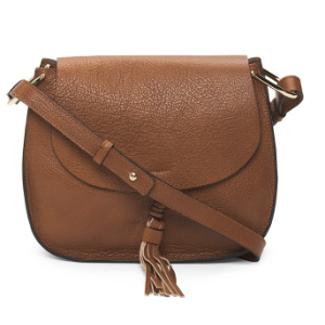 Made In Italy Tassel Leather Saddle Bag