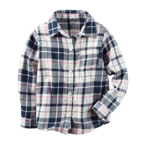 Kid Girl Button-Front Flannel Top | Carters.com
