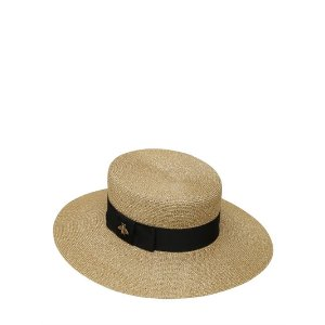 GUCCI - WOVEN STRAW LUREX HAT - HATS - GOLD - LUISAVIAROMA