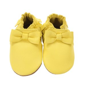 Premium Leather Maggie Moccasin Baby Shoes, Yellow | Robeez