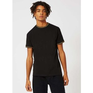 Black and Gold Tipped Muscle Fit T-Shirt - New This Week - New In - TOPMAN USA
