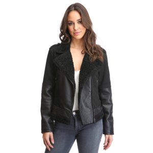 Blank Twill Sherpa Lined Moto Jacket | South Moon Under