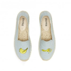 Soludos Banana Embroidered Platform Slipper in Chambray - Soludos Espadrilles