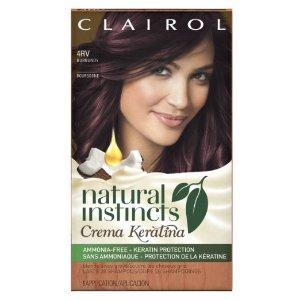 $0.70 Clairol Natural Instincts Crema Keratina Hair Color Kit, Burgundy 4RV Eggplant Creme