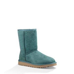 Women's Classic Short Crystal Diamond Sheepskin Boots