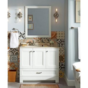 Glacier Bay Ivy Hill 36 in. Vanity in White with Colorpoint Vanity Top in Cappuccino with White Basin and Mirror-AS36P3-WH - The Home Depot