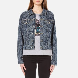 KENZO Women's Snake Stretch Jacquard Denim Jacket - Navy - Free UK Delivery over £50