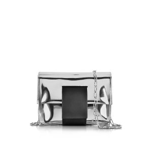 MM6 Maison Martin Margiela Silver Laminated Eco Leather Clutch w/Chain Strap at FORZIERI