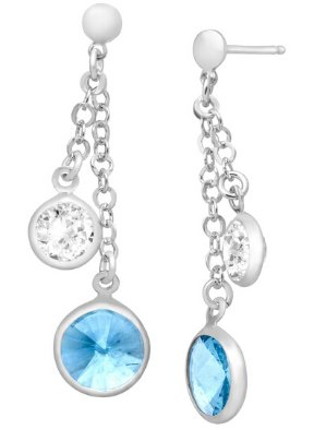 Drop Earrings with Blue & White Swarovski Crystals