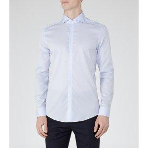 Angelo Blue Cutaway Collar Shirt - REISS