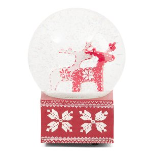 Musical Reindeer Snow Globe - Rustic Woodland - T.J.Maxx