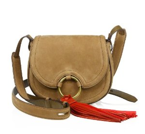 Tory Burch Tassel Detailed Suede Saddle Bag