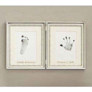 Silver Leaf Handprint & Footprint Frame   Pottery Barn Kids