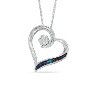 Enhanced Blue and White Diamond Accent Heart Pendant in Sterling Silver - Save on Select Styles - Zales