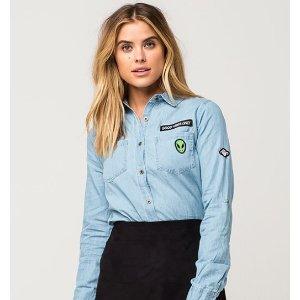 FULL TILT Patch Womens Chambray Shirt