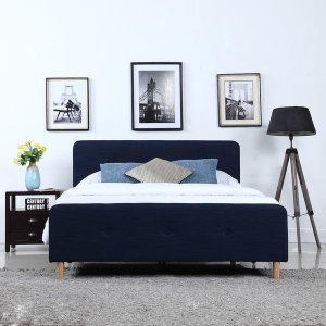 Mid Century Modern Blue Linen Fabric Low Profile Bed Frame - Twin Size - Sofamania