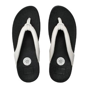 FitFlop Swirl Leather Flip Flops Urban White | Official FitFlop Store
